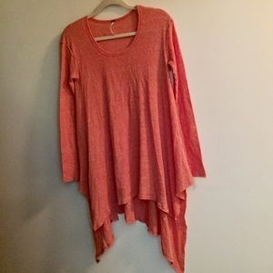 Free People coral waffle Knit tunic long sleeve XS